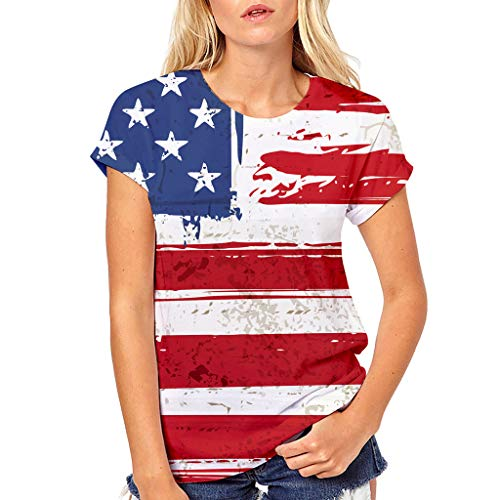 BIBICATWomens American Flag Tank 4th of July T Shirts Patriotic Short Sleeve USA Tunic Summer Blouse Tops Red