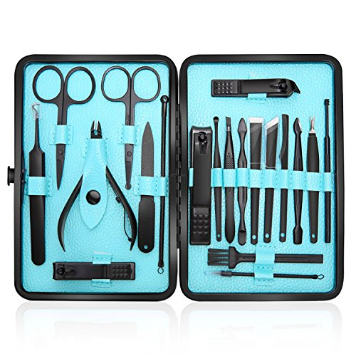 Manicure Set Professional Nail Clippers Kit Pedicure Care Tools-Stainless Steel Men Grooming Kit 20Pcs With Black PU Leather Case for Travel or Home (Black/Blue)