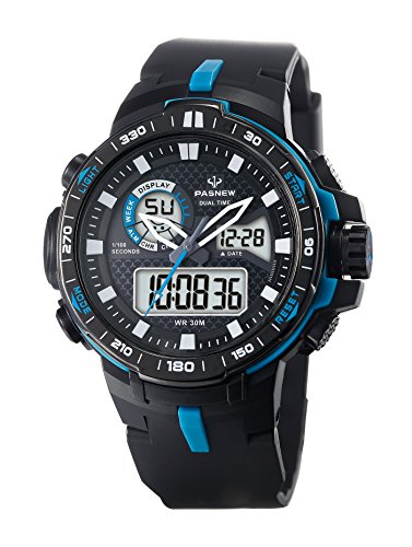 Teens Boys Girls Sport Analog Digital Dual Time Water Resistant Wrist Watches Backlight Alarm Stopwatch (Blue)