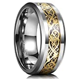 King Will DRAGON 8mm Gold Celtic Dragon Tungsten Carbide Mens Wedding Band Ring Comfort Fit 9.5