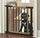 Logan Dog Gate - Indoor Pet Barrier, Expandable to 40', Walk Through Swinging Door, Extra Wide, Pressure Mounted, Walls, Stairs. Small and Large Dogs. Wood, Metal. Best Dog Gate. NMN Designs