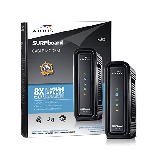 ARRIS SURFboard SB6141 DOCSIS 3.0 Cable Modem Certified with Comcast Xfinity, Time Warner, Cox, Charter, Cablevision, and more