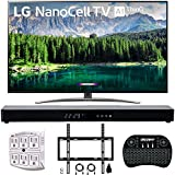 """LG 55SM8600PUA 55"""" 4K HDR Smart LED NanoCell TV w/AI ThinQ 2019 Model with Home Theater 31"""" Soundbar, Wireless Backlit Keyboard, Flat Wall Mount Kit & SurgePro 6-Outlet Surge Adapter"""