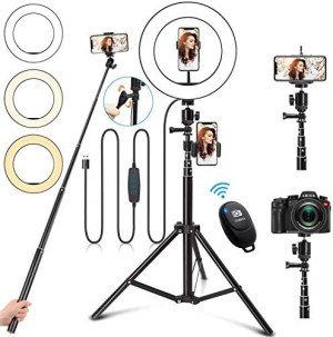 Selfie Ring Light with Stand, 10″ Ring Light with Tripod Stand &3 Phone Holder, Dimmable LED Ring Light for iPhone Desktop Selfie Light Ring Led Camera Ringlight for Live Stream/Makeup/YouTube/TikTok