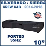 Fits Chevy Silverado & Gmc Sierra Crew-Cab 2014-2018 10' Dual Ported Subwoofer Enclosure