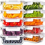 Glass Food Storage Containers with Lids - Glass Containers for Food Storage with Lids 20 Pcs. Glass Meal Prep Containers Glass Storage Containers with Lids Glass Lunch Containers Glass Food Containers
