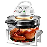 Nutrichef PKAIRFR48.5 Air Fryer, Infrared Convection, Halogen Oven Countertop, Cooking, Stainless Steel, 13 Quart 1200W, Prepare Quick Healthy Meals, for French Fries & Chips (White)
