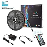 Nexlux LED Light Strip, 16.4ft Waterproof IP65 5050 SMD RGB LED Flexible Strip Light Black PCB Board Color Changing Decoration Lighting 44 Key RF Remote Controller+ UL Approved Power Adapter