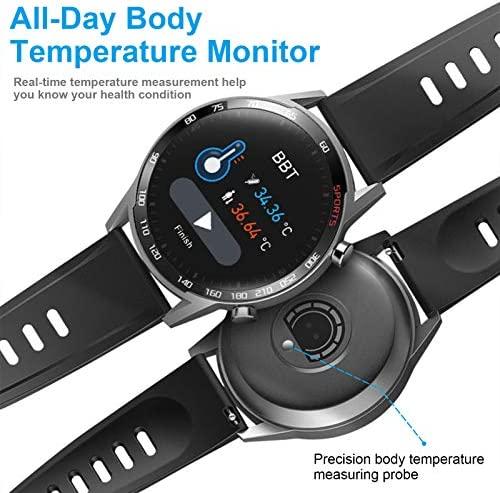 Smart Watch, LCW Fitness Tracker Watch with Heart Rate Blood Pressure Monitor, Blood Oxygen Meter, Body Temperature Measurement, Step Counter, Sleep Tracker, IP67 Waterproof Smartwatch for Men Women 4