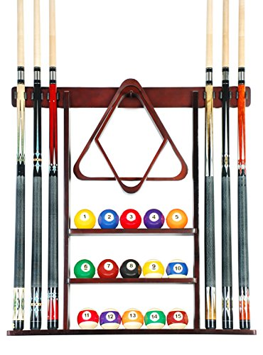 Cue Rack Only - 6 Pool Cue - Billiard Stick Wall Rack Made of Wood...