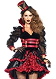 Leg Avenue Women's Victorian Vamp Steampunk Costume, Black/Burgundy, Medium
