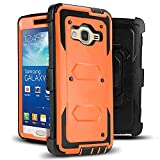 J.west Galaxy Grand Prime/Go Prime Case Rugged Holster Dual Layer Case [Kickstand][Belt Swivel Clip] for Samsung Galaxy Grand Prime (G530 G530H G530F G530M G530T G530AZ S920C), Orange
