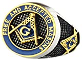 VPKJewelry Mens F. & A.M. Masonic Mason Blue Enamel Gold Plated Polished Stainless Steel Rings sz 7.5-14.5 (11.0)