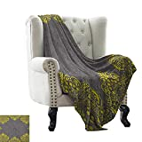 Weighted Blanket for Kids Grey and Yellow,Traditional Victorian Style Abstract Backdrop Ethnic Floral Frame Image, Grey Yellow Colorful | Home, Couch, Outdoor, Travel Use 60'x62'