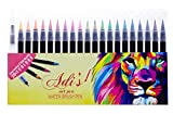 Watercolor Brush Pen Marker 20 Set & 1 Real Brush Water Pens - Fine & Flexible Tips, ErgoLock Caps, Vibrant &Bold Colors -for Drawing, Calligraphy, Sketching, Coloring