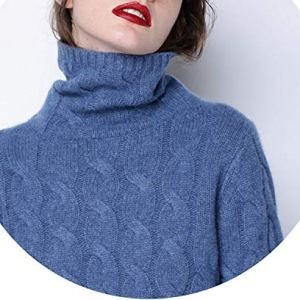world-palm Winter Thick Turtleneck Women 100% Pure Cashmere Sweater Twist Knitted Bottoming Warm Pullover