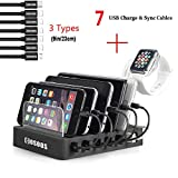 Charging Station for Multiple Devices,COSOOS USB Charging Station with 5 lphone Charger Cables,1 Type-C,1 Micro Cable,lWatch Stand Holder,6-Port Docking Station for Phone,Tablets,Kindle,(UL Certified)