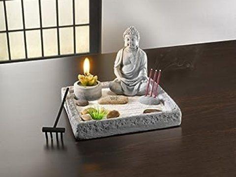 """zen garten deko deko-set """"zen-garten"""" buddha kerze rechen relax"""