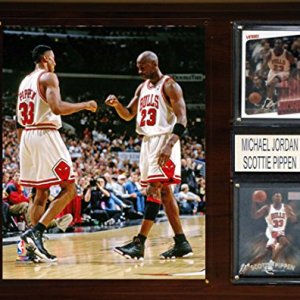 NBA Chicago Bulls Michael Jordan-Scottie Pippen Player Plaque, 12 x 15-Inch