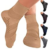 TechWare Pro Ankle Brace Compression Socks - Plantar Fasciitis Pain Relief Sock with Arch Support. Foot Sleeve Relieves Achilles Tendonitis & Heel Pain. Women & Men. (L, Black/Blue)