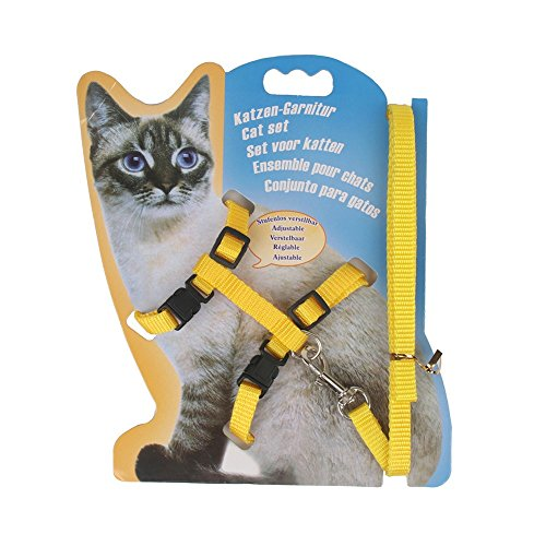 Rella Home Cat Harness and Leash Adjustable Nylon Halter Harness Kitten Nylon Strap Belt Safety Rope Leads 1