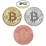 Bitcoin Challenge Coin Deluxe Collector's Set Featuring the Limited Edition Original Commemorative Tokens w/ Display Case - 3 Pcs with Random Color and Design
