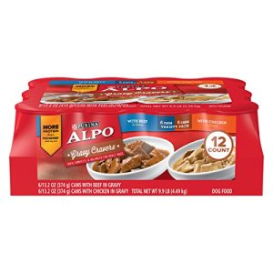 Purina ALPO Gravy Wet Dog Food Variety Pack, Gravy Cravers With Beef & With Chicken - (12) 13.2 oz. Cans 2
