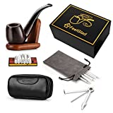 [Update Version]FeelGlad Ebony Smoking Pipe with 10 Filter Element + Scraper + High Grade Pipe Pouches+10 pipe cleaners (style 1)