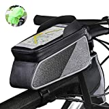 ROTTO Bicycle Bag Bike Frame Bag Top Tube Phone Bags Sensitive Touch Screen Waterproof with Rain Cover (Gray-Black)