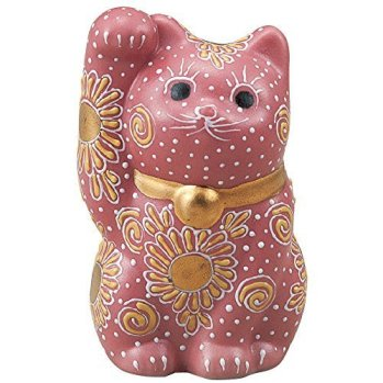 Japanese Maneki Neko Right Hand Lucky Pink Cat Kutani Ceramic by Kutani