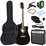 Best Choice Products 41in Full Size All-Wood Acoustic Electric Cutaway Guitar Musical Instrument Set w/ 10-Watt Amplifier, Capo, E-Tuner, Gig Bag, Strap, Picks, Extra Strings, Cloth - Black