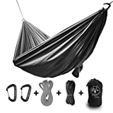 Outdoor Vitals Ultralight Hammock Under 1 lb with Suspension Included, Whoopie Sling Suspension, Tree Straps and Carry Bag (Charcoal, Single Plus)