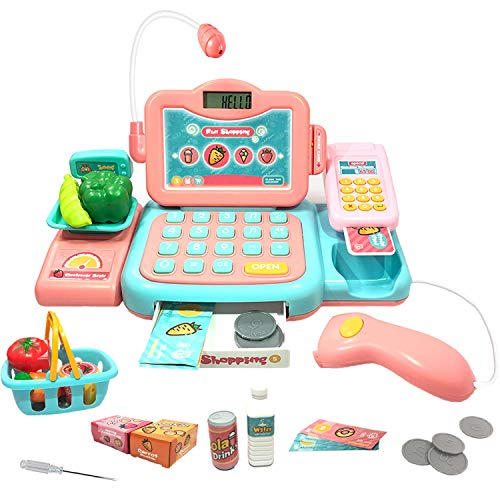 JOYGO Pretend Play Educational Cash Register Toy Classic Counting Toy with Microphone/ Calculator/ Scanner/ Sound/ Music for Kids & Toddlers & Preschoolers