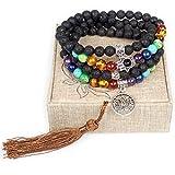 Leefi Mala Beads - Lava Beads Diffuser Necklace - 108 Lava Stone Jewelry for Women Men - Chakra Stones Bracelet Necklace(Lava Rock,Lotus Flower)