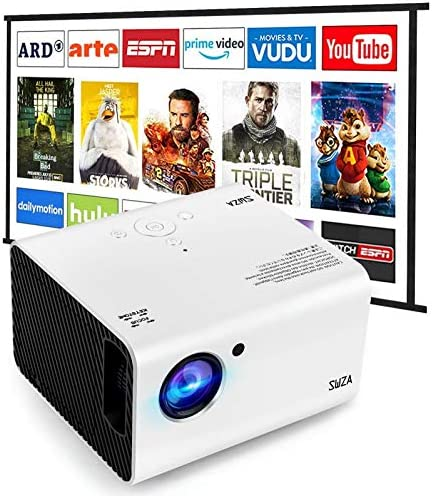 Portable Projector, SWZA Native 1920x1080P Movie Video Projector with 100″ Projector Screen, Mini Projector with Built-in HiFi Sound Speaker for Home Theater