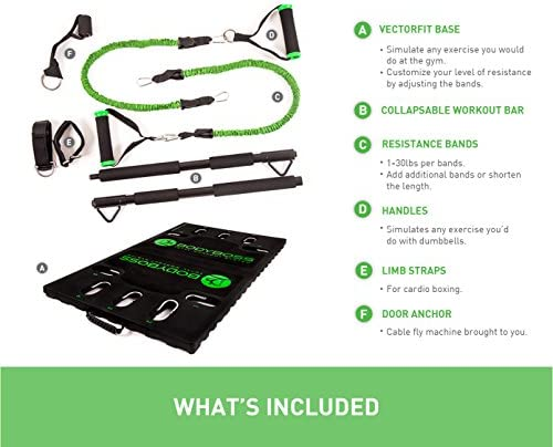 BodyBoss 2.0 - Full Portable Home Gym Workout Package + Resistance Bands - Collapsible Resistance Bar, Handles - Full Body Workouts for Home, Travel or Outside 9