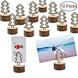 Amytalk 12 Packs Real Wood Base Table Name Number Holder Place Card Holder Photo Picture Menu Note Memo Clips Holder for Party Wedding Office Photo Table Decorations