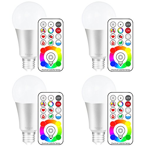 Yangcsl 120 Colors E26 Dimmable Color Changing LED Light Bulbs with Remote Control, Memory & sync, Daylight White & RGB Multi Color, 60 Watt Equivalent (4 Pack)