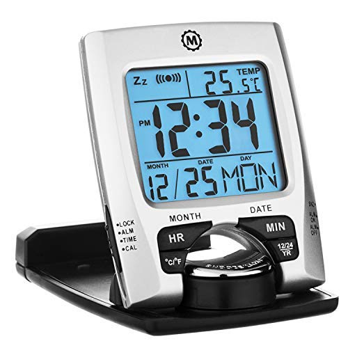 Marathon CL030023 Travel Alarm Clock with Calendar & Temperature - Doubles as Phone Stand/Holder - Battery Included (Silver)