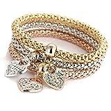 Orcbee  _Charm Women Bracelet Gold Silver Rose Gold Rhinestone Bangle Jewelry Set (B)