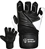 Steel Sweat Weightlifting Gloves - 18 inch Wrist Wrap Support for Workout, Gym and Fitness Training - Best for Men and Women Who Love Weight Lifting - Leather ZED