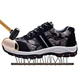 JACKSHIBO Mens Womens Work Safety Shoes,Breathable Outdoor Steel Toe Footwear Industrial and Construction Shoes, Hiking Shoes
