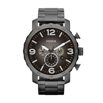 Fossil Men's Nate Quartz Stainless Steel Chronograph Watch, Color: Gunmetal (Model: JR1437)