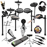 Alesis Nitro Mesh Electronic Drum Kit + Professional Headphones + Drum Mat + Pair of Stix & Stick Holder + Throne + Music sheet stand + Instrument Cable + Stereo & USB Cables - Top Accessory Bundle!