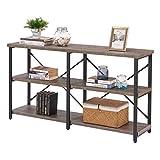 BON AUGURE Rustic Console Sofa Table, Industrial Hallway/Entryway Table, 3 Shelf Open Bookshelf(55 Inch,Dark Oak)