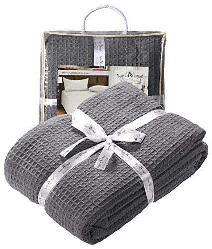 Farmhouse Cotton Thermal Blanket in Waffle weave 90x90Full Queen CHARCOAL,Snuggle Super Soft Blanket,Breathable Cozy Cotton Blankets,Full Queen Blanket,Navy Blanket,Light Thermal Blanket,Soft Blanket