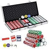 Smartxchoices 500 Poker Chips Set 11.5 Gram Dice Style Clay Casino Poker Chips w/Aluminum Case, Cards, Dices, Blind Button for Texas Holdem, Blackjack, Gambling