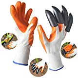 Garden Genie Gloves, Aokey Rubber Polyester Digging Gloves (1 Pair) with Sturdy Plastic Claws for Easy Digging & Planting (Claws on Right Hand)