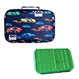 Go Green Lunch Box Set • 5 Compartment LeakProof Lunch Box • Insulated Carrying Bag • Beverage Bottle • Gel Freezer Pack | Adults and Kids (Fast Flames - Cars)