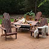 Deluxe 5-Piece Adirondack Chair Fire Pit Chat Set